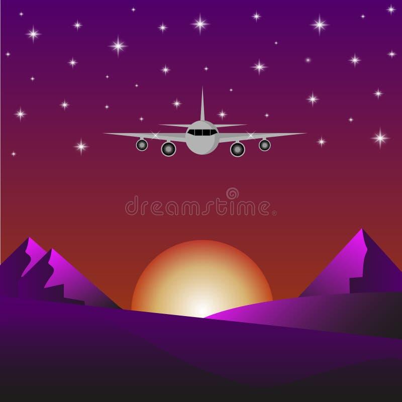 Avión de pasajeros que vuela sobre las montañas en la puesta del sol ilustración del vector