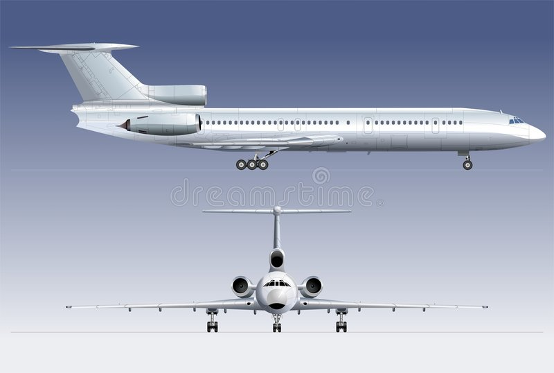 avión de pasajeros TU-154 del Hola-detalle ilustración del vector