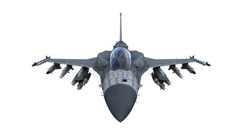 Avión del avión de combate en vuelo, aviones militares, aeroplano del ejército aislado en el fondo blanco, visión superior de ilustración del vector