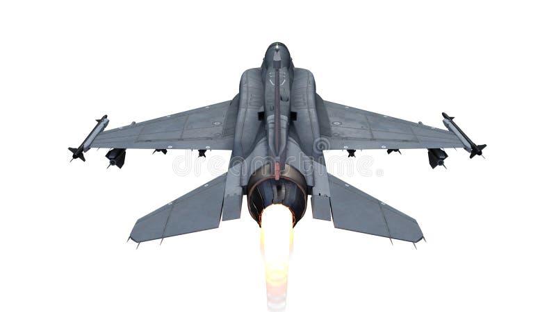 Avión del avión de combate en vuelo, aviones militares, aeroplano del ejército aislado en el fondo blanco, visión superior po ilustración del vector
