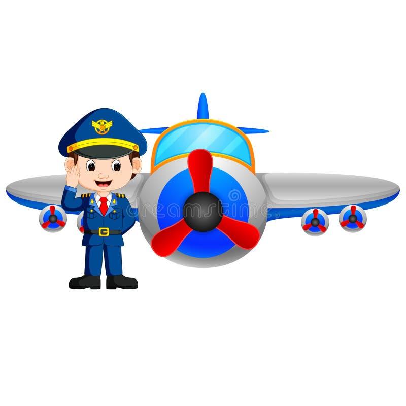 Avión del piloto y de reacción en el fondo blanco stock de ilustración