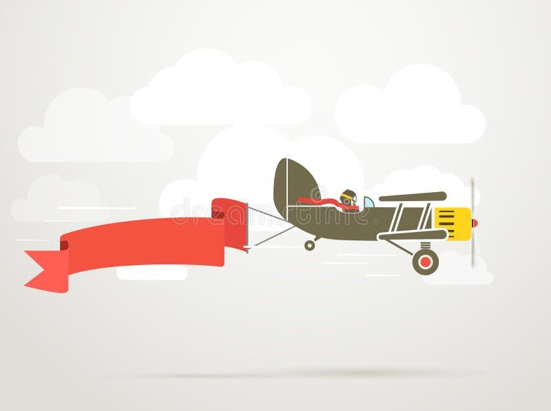 Avión del vintage del vuelo ilustración del vector