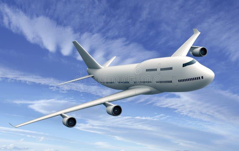 Avión del vuelo aislado en fondo del cielo azul stock de ilustración