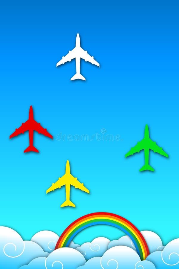 Avión en cielo con el arco iris stock de ilustración