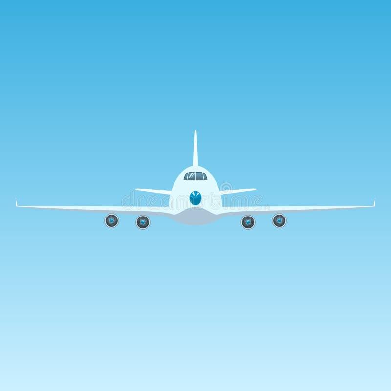 Avión en el cielo, Front View del aeroplano stock de ilustración