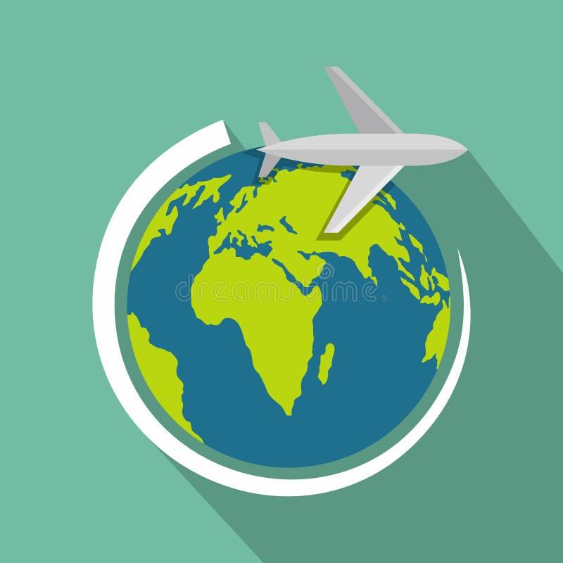 Avión en el icono de la tierra, estilo plano ilustración del vector