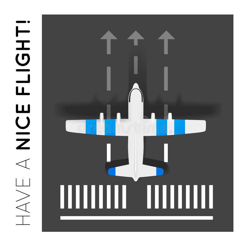 Avión en la pista en el aeropuerto Visión superior ilustración del vector