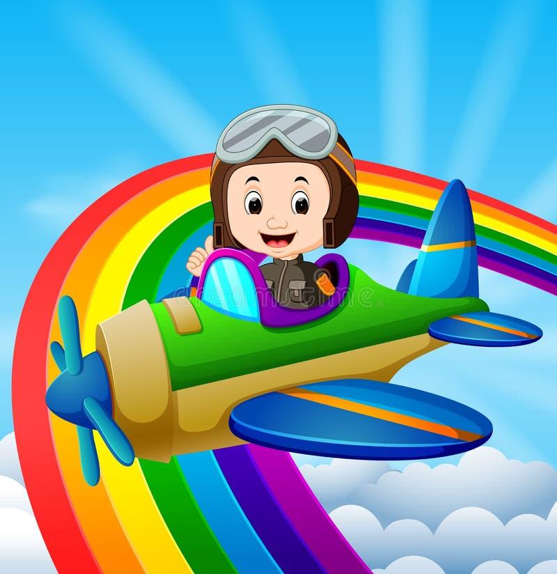Avión experimental divertido del montar a caballo sobre el arco iris stock de ilustración