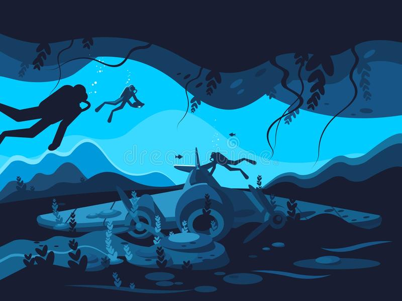 Avión hundido en fondo oceánico stock de ilustración