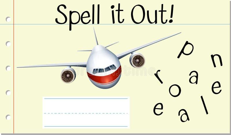 Avión inglés de la palabra del encanto ilustración del vector