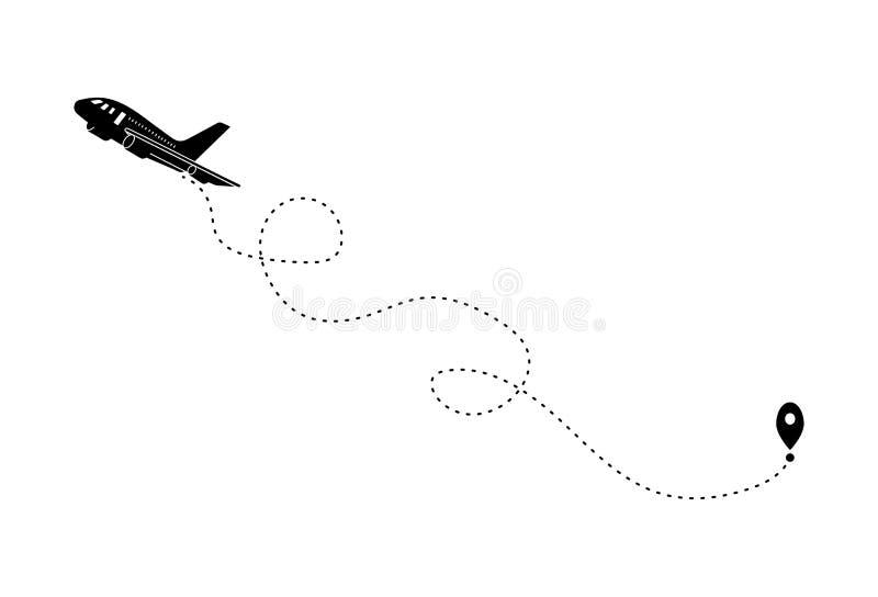 Avión negro y su pista en el fondo blanco Vector Illust stock de ilustración