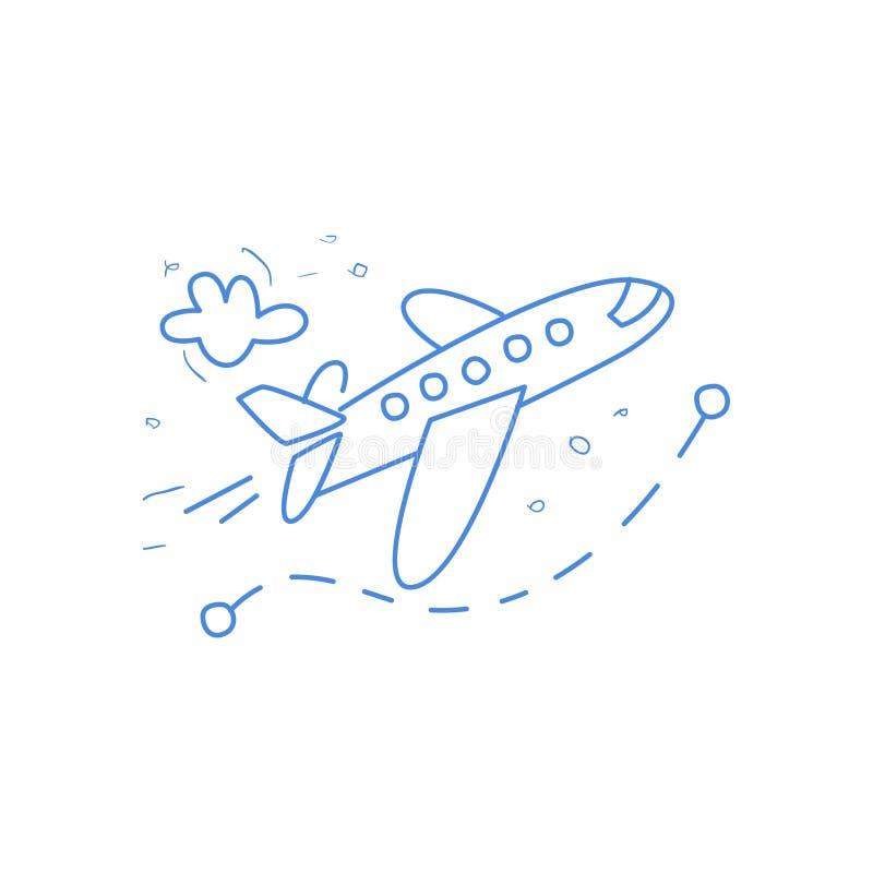 Avión y su ruta marcados por la línea de puntos ilustración del vector