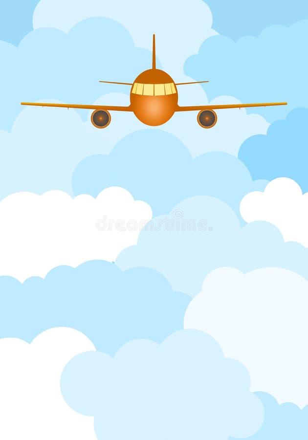 Aviões amarelos do transporte do voo com motores e asas de jato com uma cabine iluminada em nuvens azuis e brancas ilustração stock