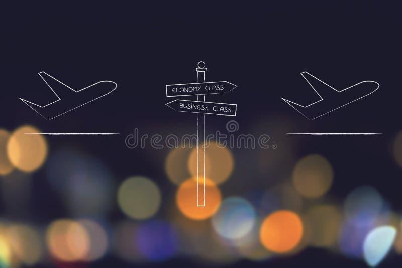 Aviões com sinal de estrada t no meio da economia e da classe executiva ilustração royalty free