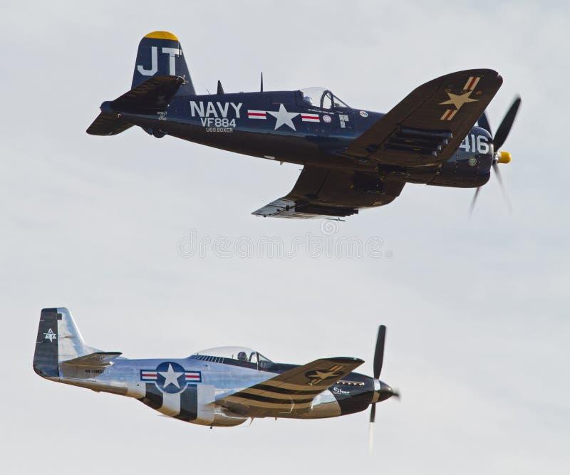 Aviões da segunda guerra mundial do vintage imagens de stock