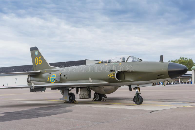 Aviões de lutador de Saab J32 Lansen imagens de stock