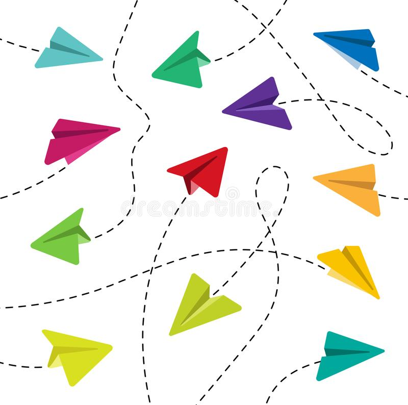 Aviões de papel coloridos ilustração do vetor