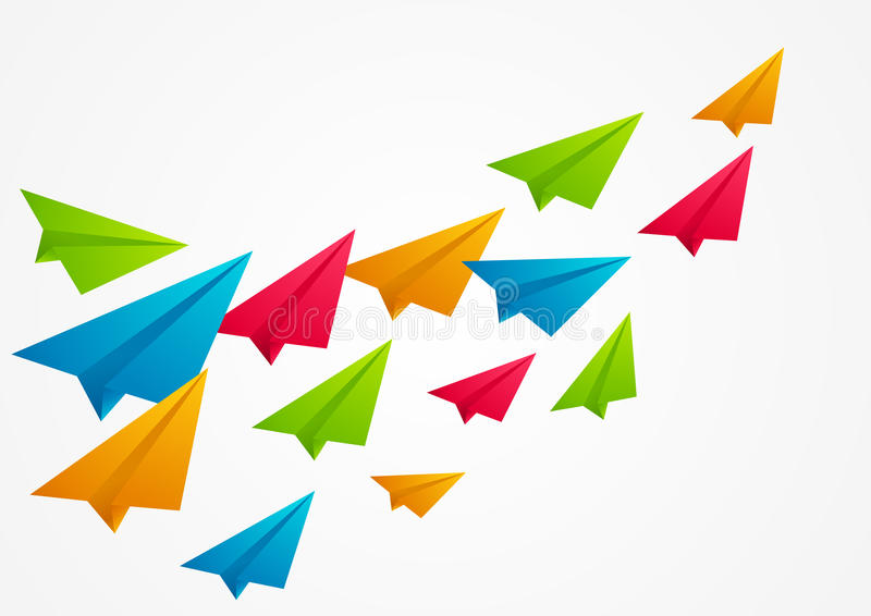 Aviões de papel da cor ilustração stock