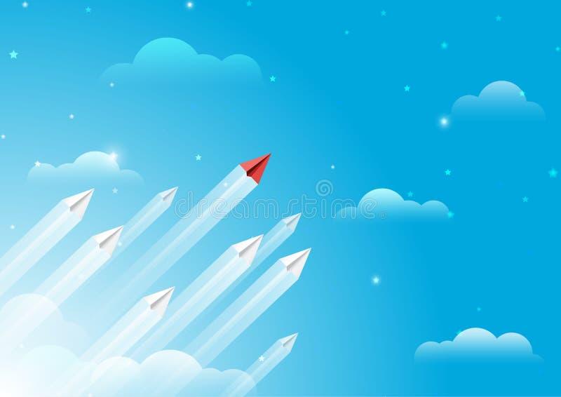 Aviões de papel liderança e conceito dos trabalhos de equipa ilustração stock
