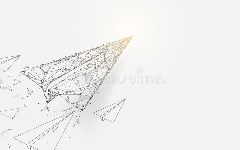Aviões de papel que voam das linhas, dos triângulos e do projeto do estilo da partícula vetor da ilustração ilustração do vetor