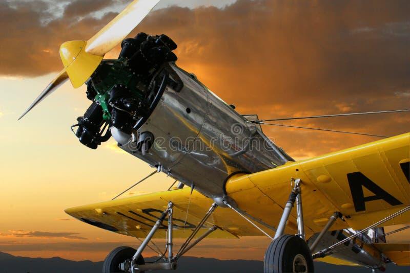 Aviões de treinamento do vintage do único motor fotografia de stock royalty free