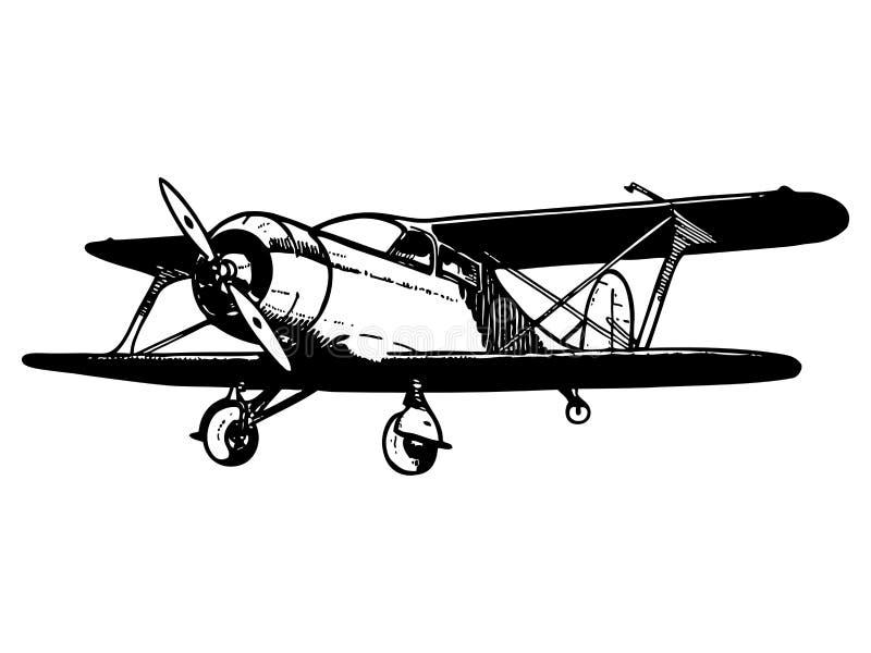 Aviões do biplano do vintage ilustração stock