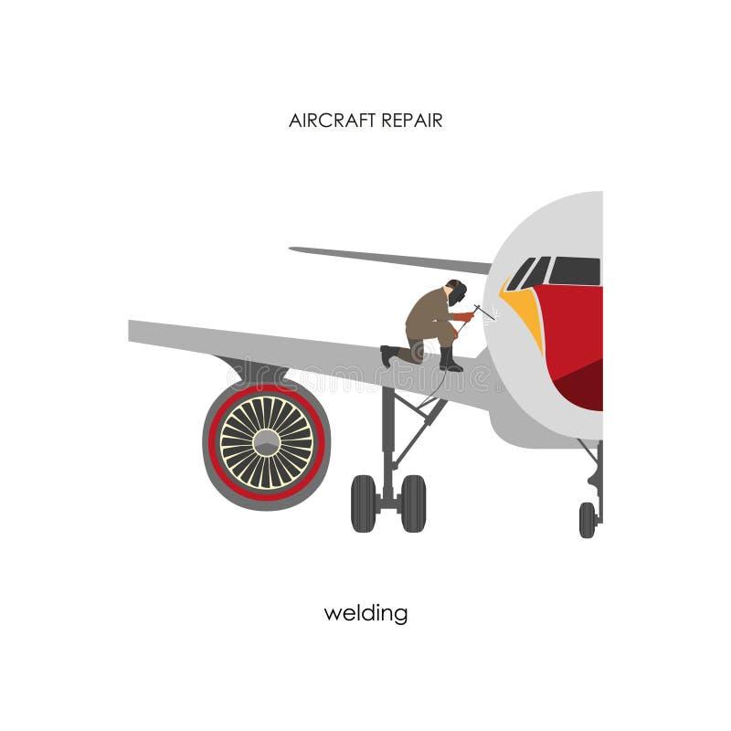 Aviões do reparo e da manutenção Soldador que repara a guarnição dos aviões ilustração stock