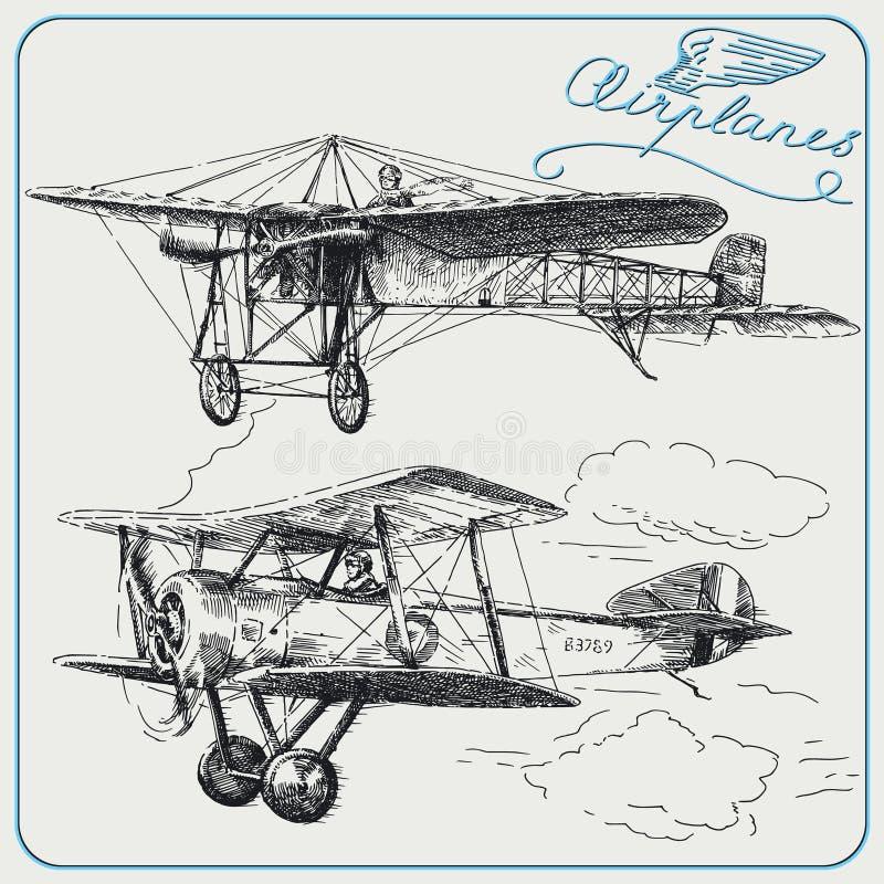 Aviões do vintage ilustração royalty free