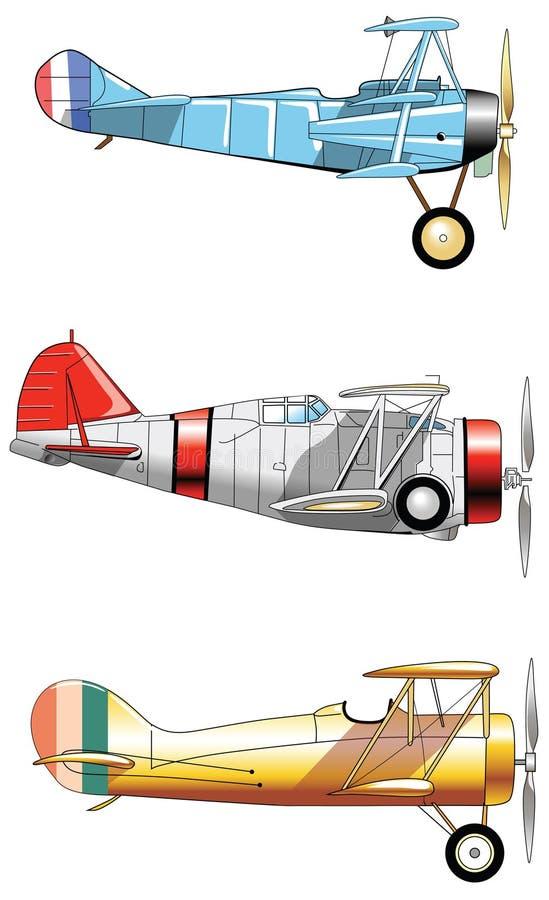 Aviões do vintage Grupo do projeto Aviões de exército velhos do amarelo do vermelho azul da forma ilustração royalty free
