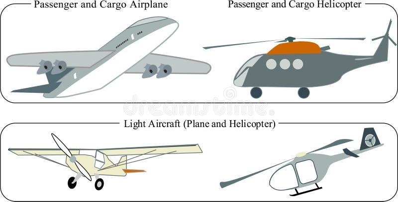 Aviões/aviões e helicópteros, carga e luz ilustração stock
