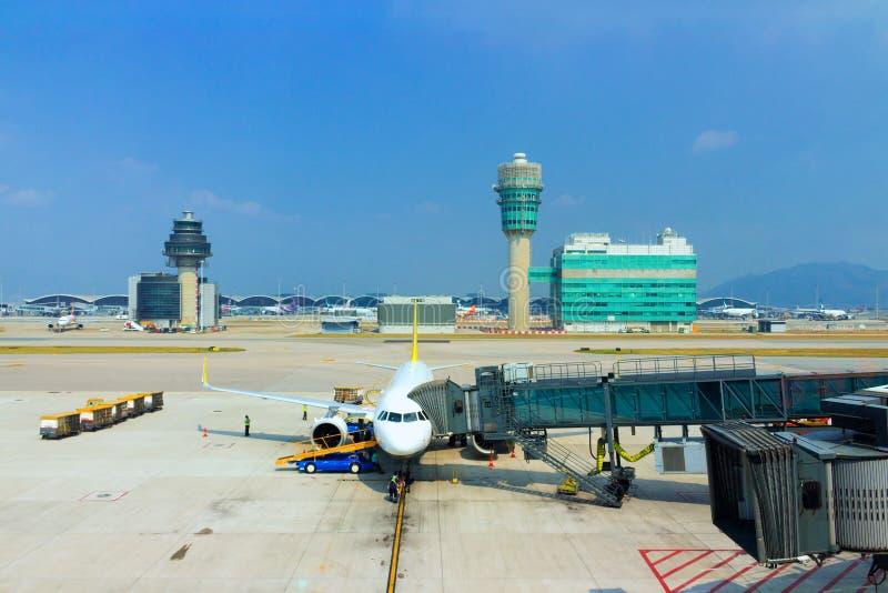 Aviões em Hong Kong International Airport foto de stock royalty free