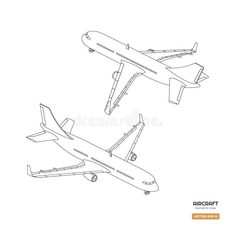 Aviões isométricos civis no estilo do esboço Modelo industrial do avião Vista dianteira e traseira Ícone plano do contorno ilustração do vetor