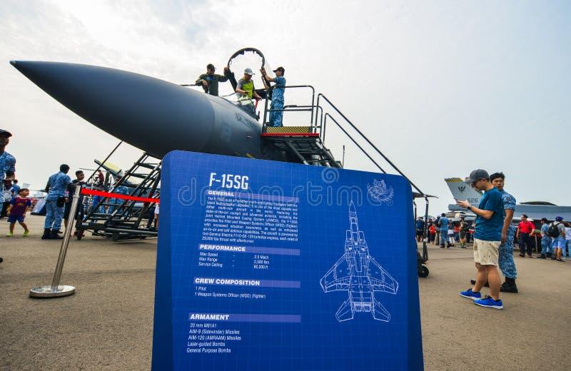 Aviões na exposição em Changi, Singapura fotos de stock royalty free