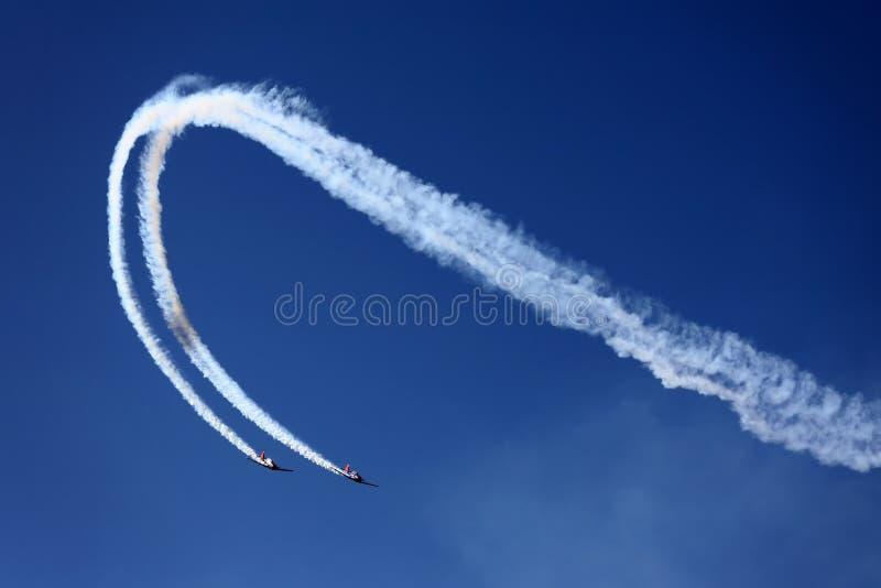 Aviões na mostra de ar imagem de stock