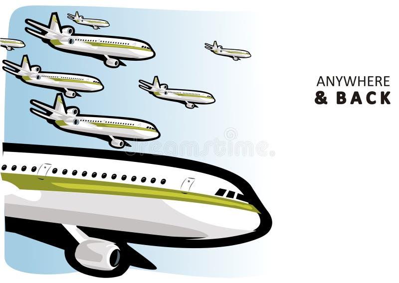 Aviões no ar ilustração do vetor