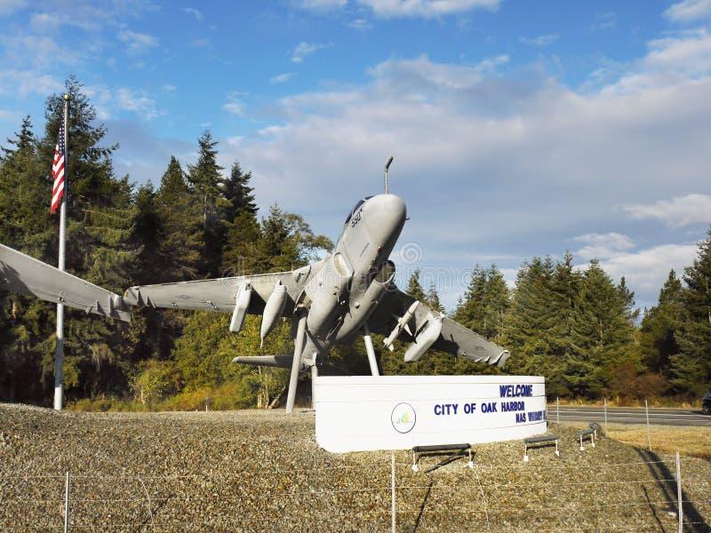 Aviões, porto do carvalho, ilha de Whidbey, Washington fotos de stock