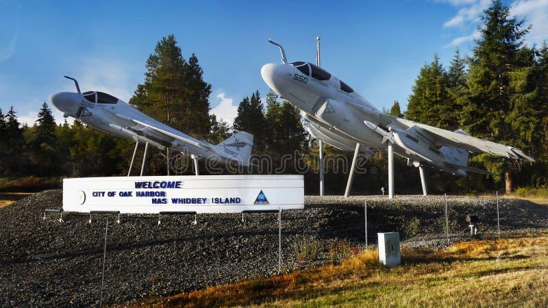 Aviões, porto do carvalho, ilha de Whidbey, Washington imagens de stock royalty free