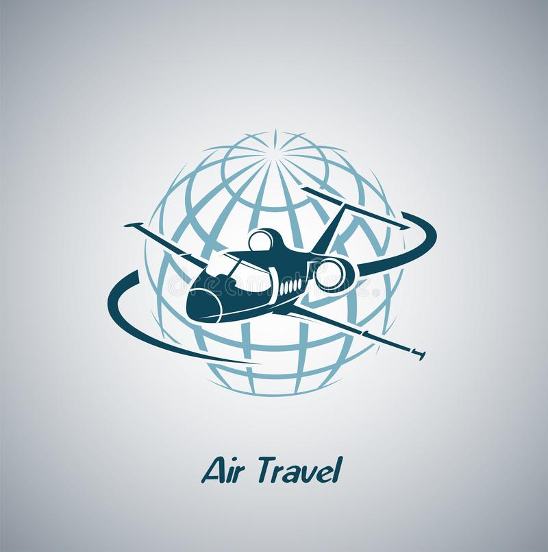 Aviões que voam pelo planeta são símbolo do transporte aéreo internacional ilustração stock