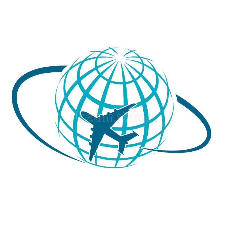 Aviões que voam pelo planeta são símbolo do transporte aéreo internacional ilustração do vetor