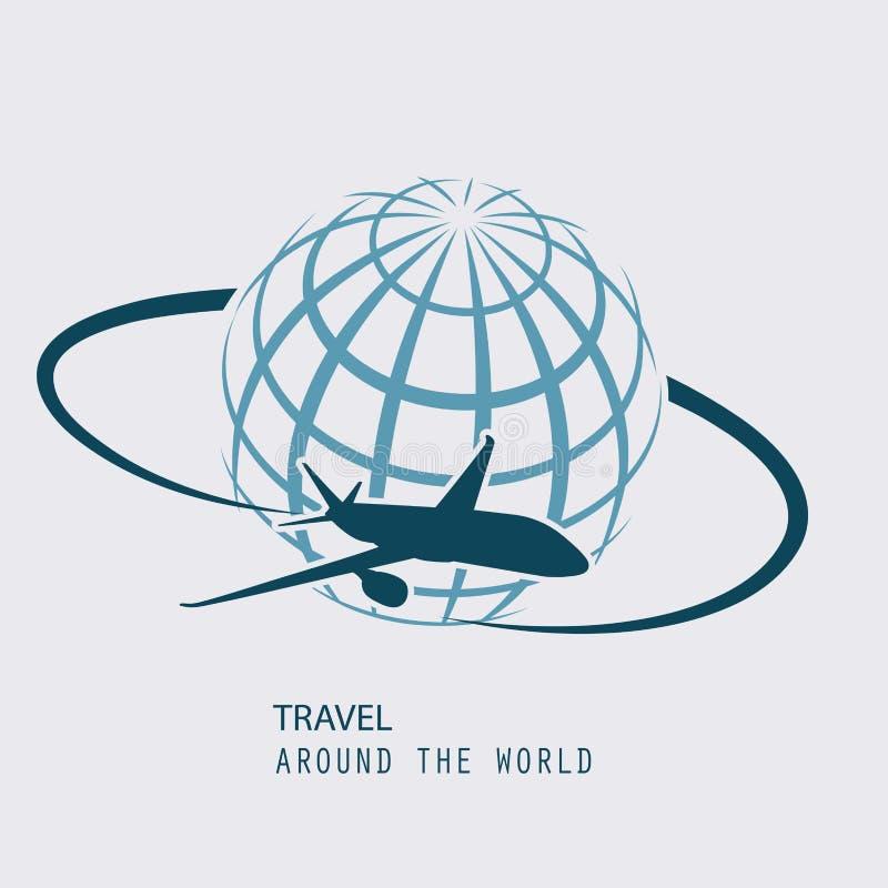 Aviões que voam pelo planeta são símbolo do transporte aéreo internacional ilustração royalty free