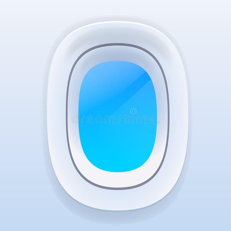 Aviões Windows com céu azul, vetor do avião ilustração royalty free