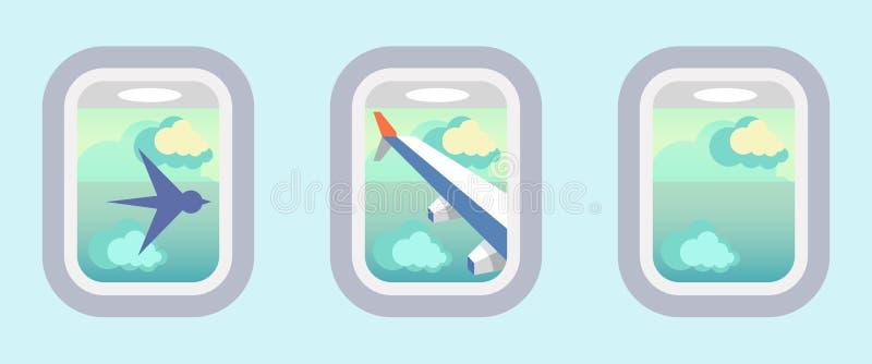Aviões Windows, janelas do avião ilustração royalty free