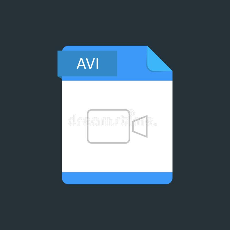 AVI file type icon. Vector illustration isolated on a dark blue background.  royalty free illustration