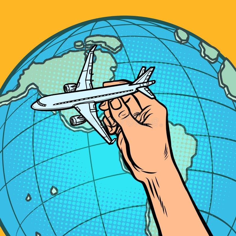 Avi?n a disposici?n metáfora del vuelo a América libre illustration