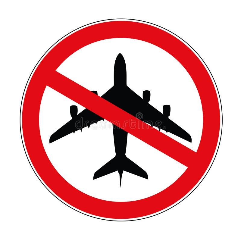 Aviação plana ícone proibido do sinal de aviso ilustração stock