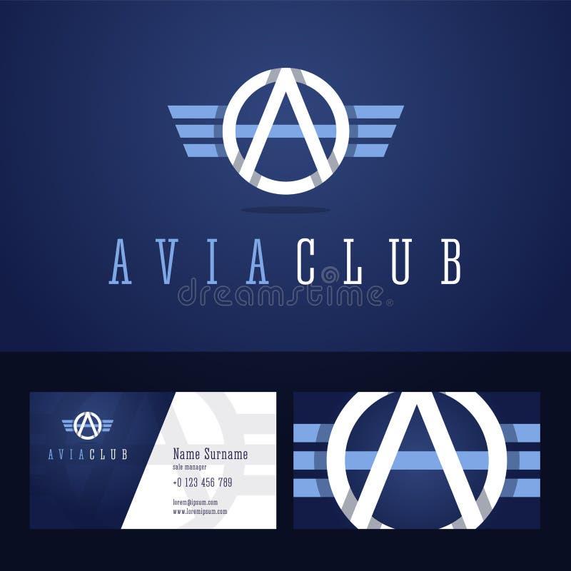 Avia俱乐部商标和名片模板 皇族释放例证