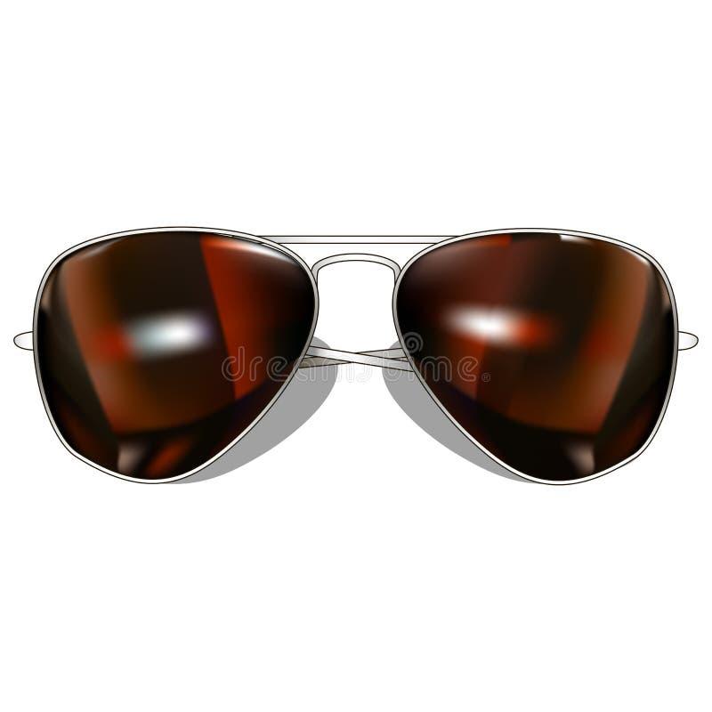 Aviador Brown Sunglasses En el fondo blanco Vector i libre illustration