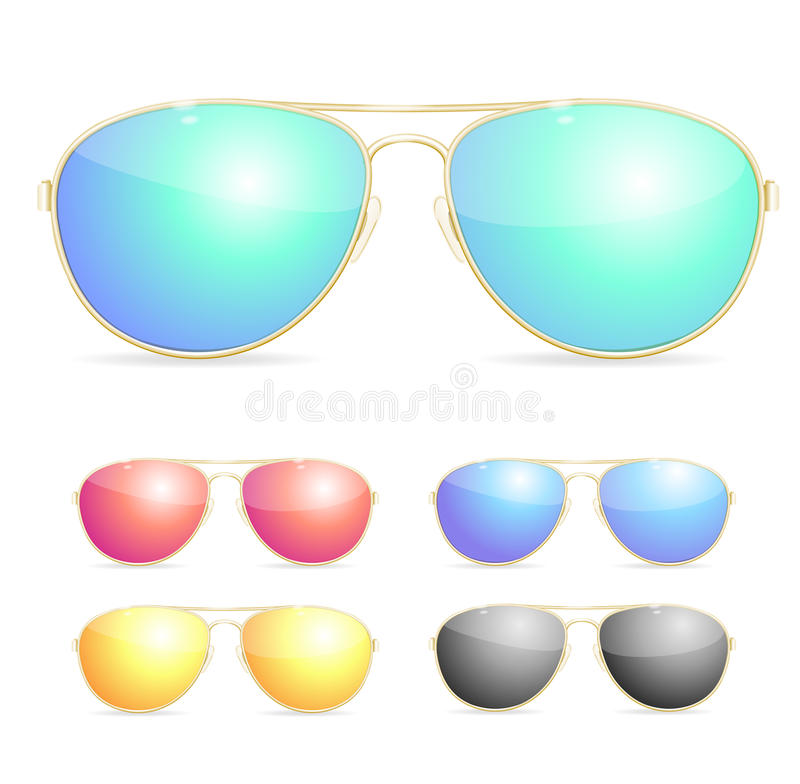 Aviador Colorful Sunglasses Set Vector libre illustration