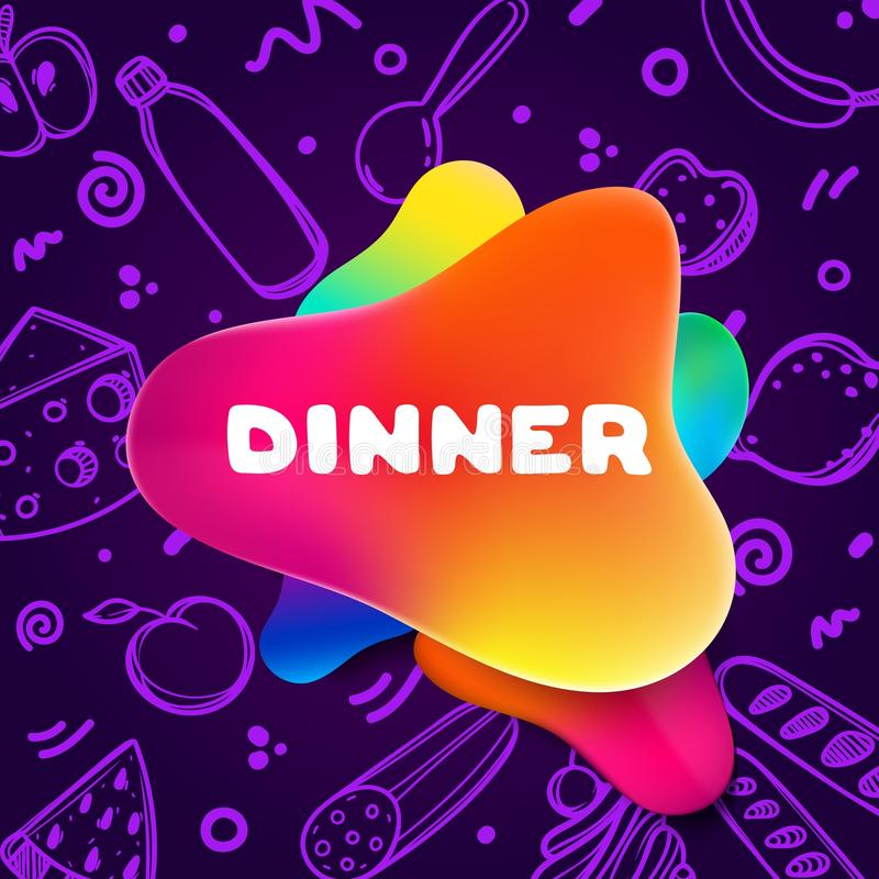 Aviador colorido de la pendiente para el café en fondo brillante y brillante con cita de la cena Ejemplo linear del garabato de l ilustración del vector
