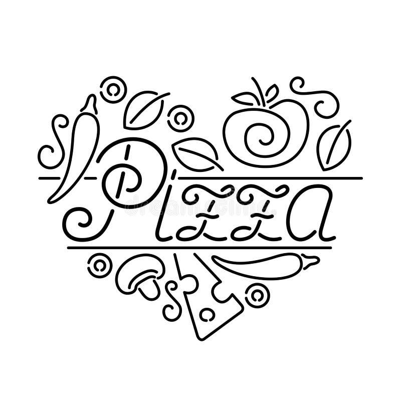 Aviador con la etiqueta del corazón de la pizza ilustración del vector